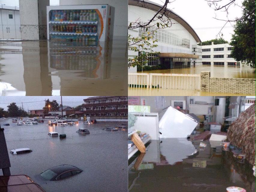 去年6月に防災の講演させてもらった栃木の白鴎大学。川の決壊によってこの通りです。その時出会った友人たちは皆無事みたいですが、何人かの家はもうダメとのこと。これから必ずボランティアや募金が必要になります。よろしくお願いします。 http://t.co/MFTVSwTtIq