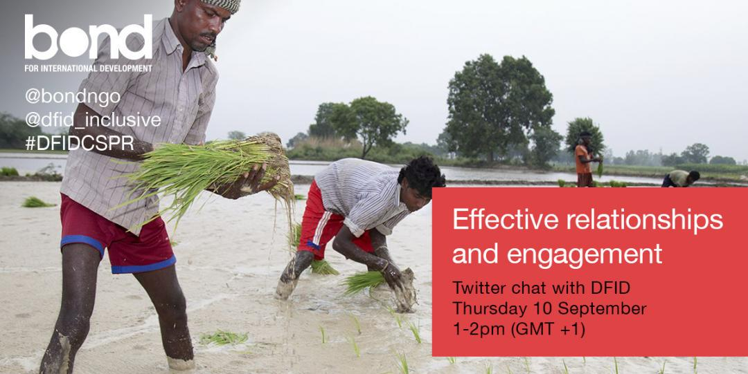 Thumbnail for Effective relationships and engagement Twitter chat #DFIDCSPR