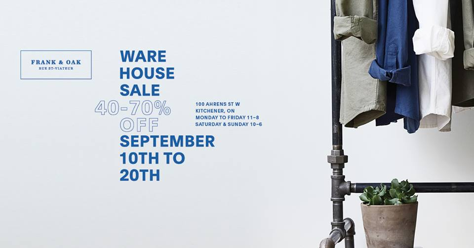 Frank And Oak on Twitter  Our warehouse sale in Kitchener starts today! Doors open at 11 AM. Hit the link for details //t.co/h6PSwYu5DR ...  sc 1 st  Twitter & Frank And Oak on Twitter: