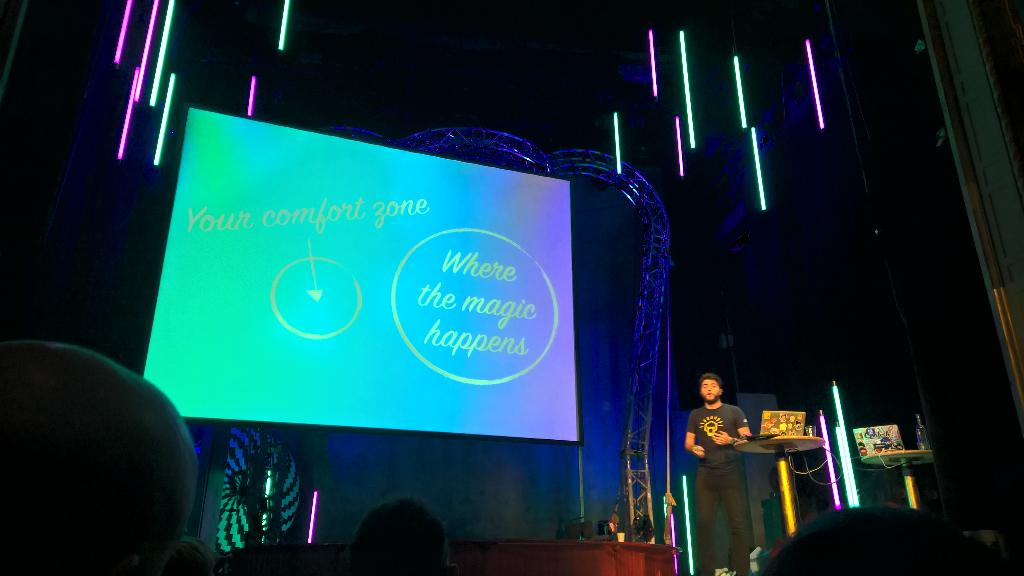 Awesome inspiration and tech demo by @zenorocha at #nordicjs. Move out of your comfort zone to the magic. http://t.co/brs5IldUd4