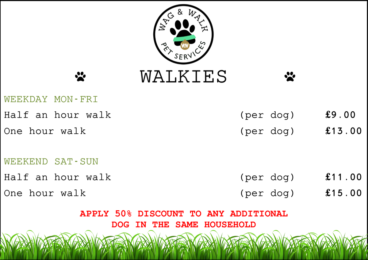 Wag Walk Pet Service On Twitter Dog Walking Price List