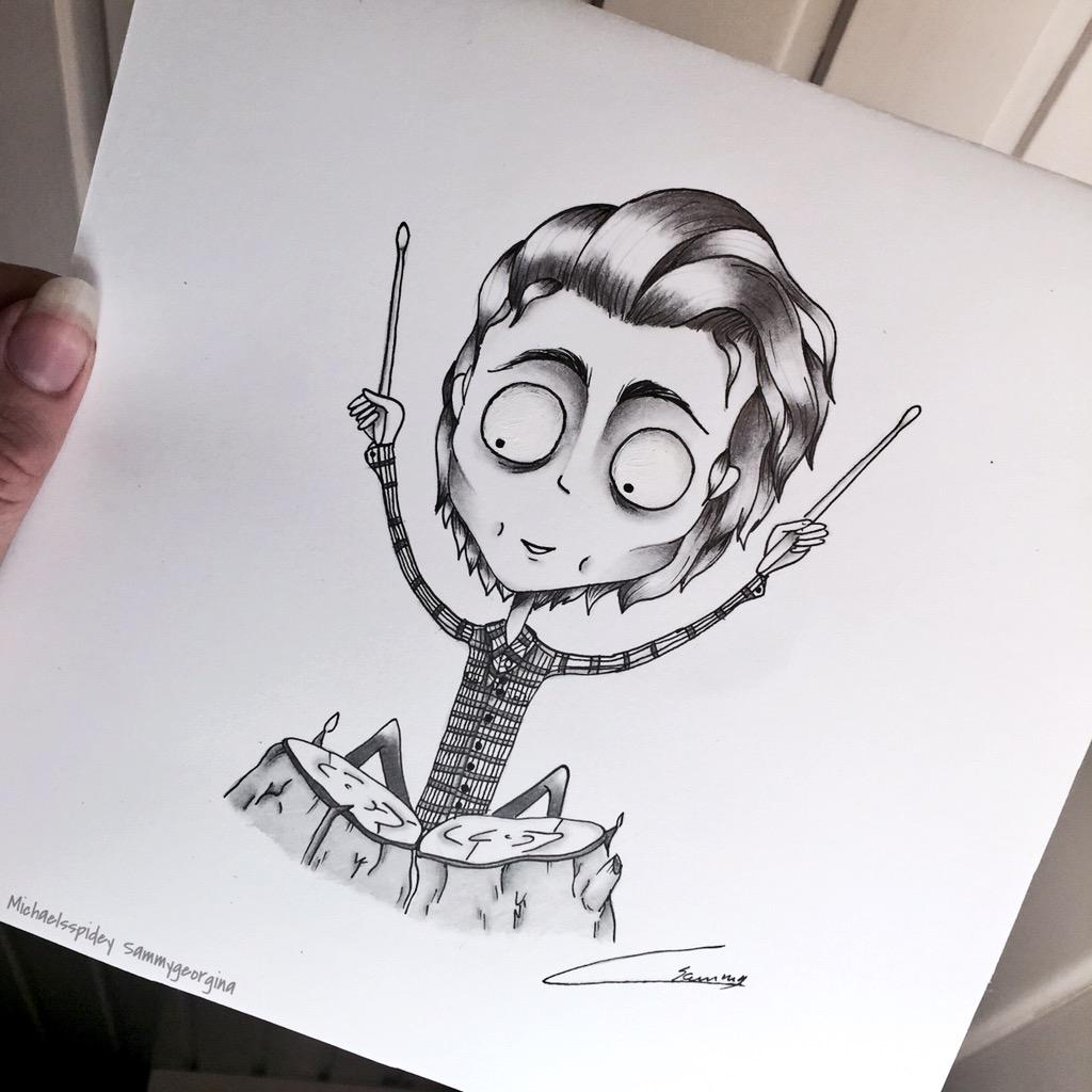 sammy on twitter made this drawing of ashton irwin in tim burton style hope he likes it x 5sosfanart ashton5sos 5sos http t co pzvrkxjrkq