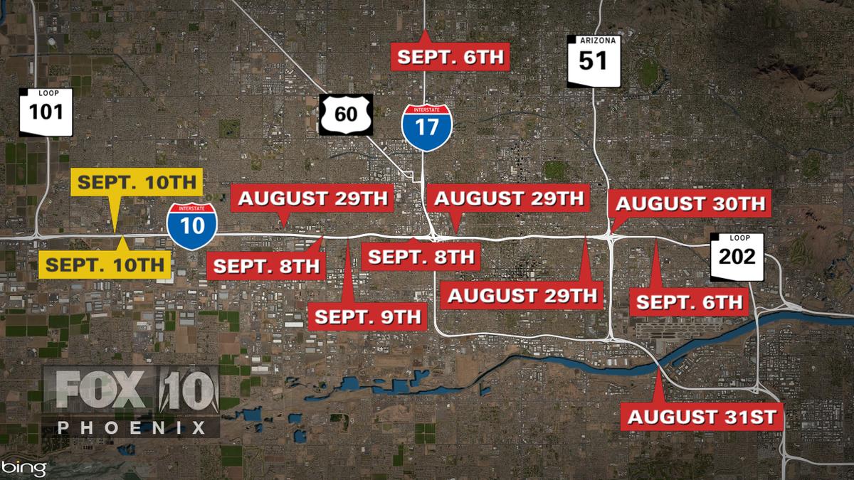 Map Of Arizona Freeway Shootings.Fox 10 Phoenix On Twitter Updated Map Of The Phoenix Freeway