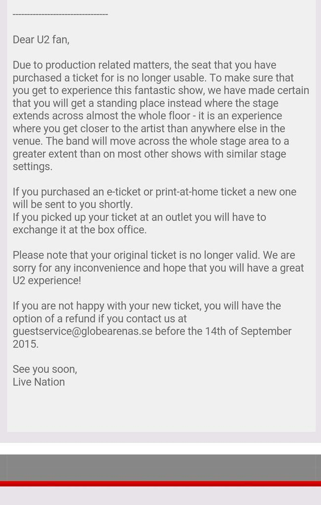 Live Nation Sverige replaces U2 tickets (English) (photo: u2.se / screenshot)