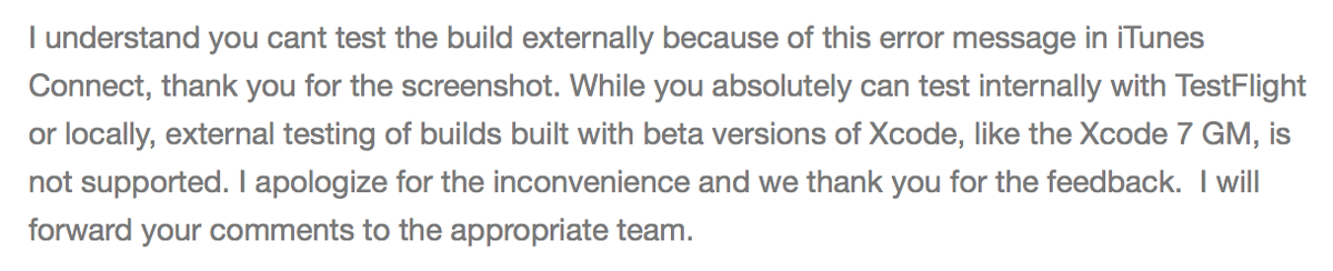 Apple confirmed TestFlight external test doesn't support iOS 9 GM and it seems they think it is OK and won't fix it. http://t.co/ST2YNZAkNo