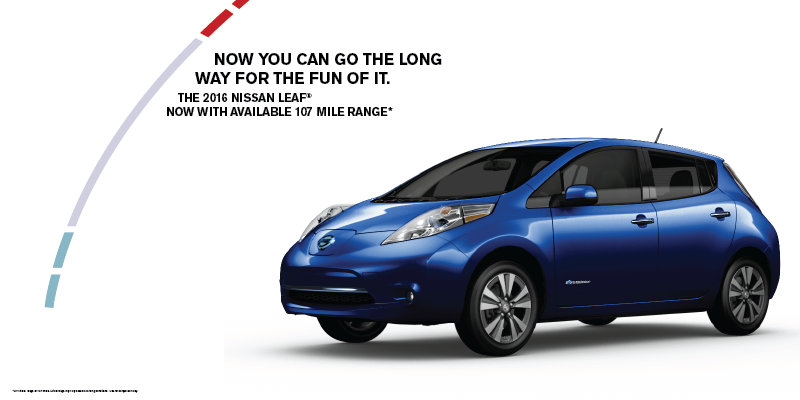 Big news! The 2016 #LEAF has available best-in-class range with a 27% increase in mileage http://t.co/8yFQqUrpCZ http://t.co/qcPZ8QlbvD