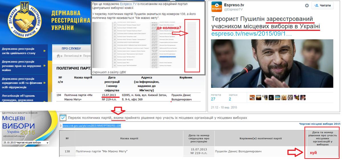 Партия террориста Пушилина не подавала заявление об участии в местных выборах - Цензор.НЕТ 2825