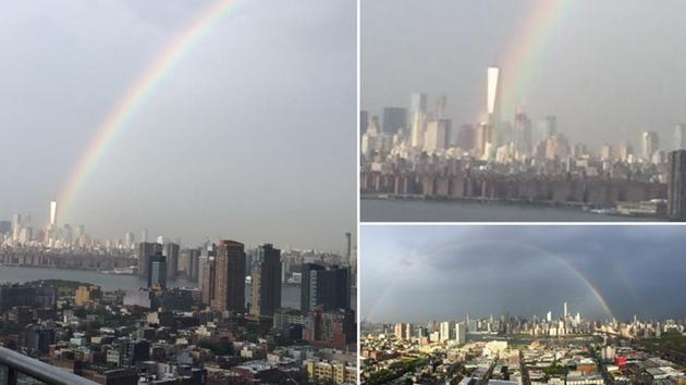Rainbow appears at #WorldTradeCenter a day before 14th anniversary of  9/11 attacks ~@TheAshleyGreco http://t.co/yaJENvn8BX
