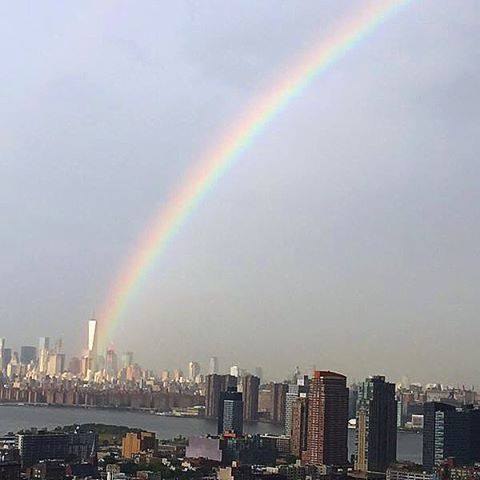 Day before 14th anniversary #September11, rainbow begins where World Trade Center once stood. #NeverForget http://t.co/LxIfsY9VLy