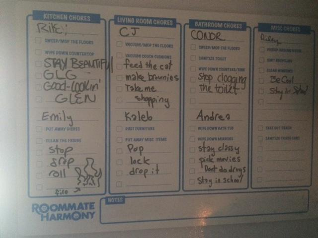 roommate harmony on twitter chore chart being used creatively