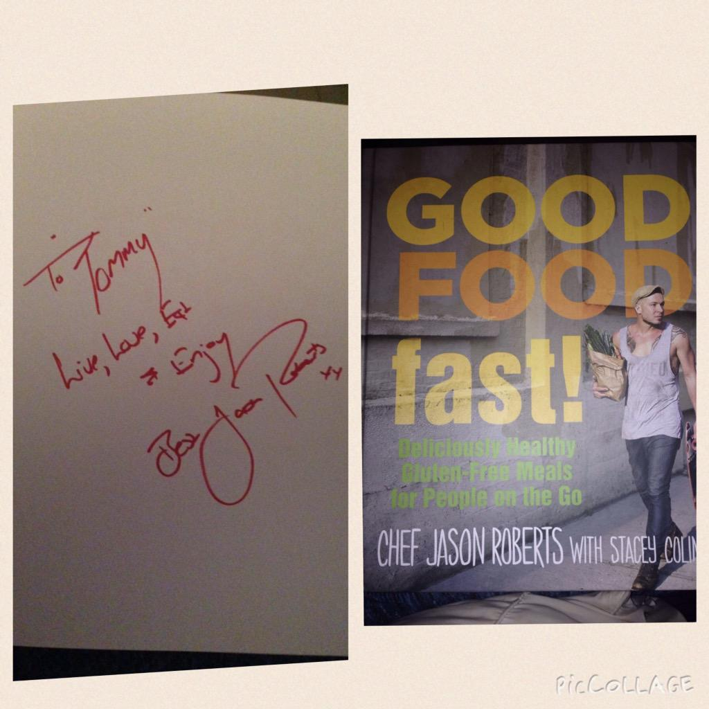 Awesome @teeco71: I have my copy of @ChefJasRoberts #GoodFoodFast & he signed it