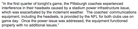 Statement from NFL spokesman Michael Signora on the headset communication during the game: http://t.co/5cr1ZixLph