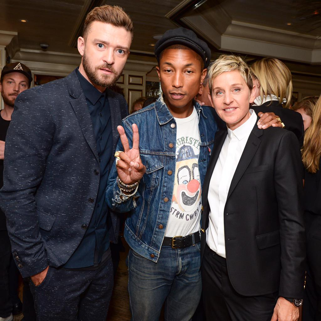 More from last night! @justintimberlake & @pharrell came by to celebrate with @theellenshow #EllenAtBergdorfs #BGFW http://t.co/m8Q1fJwazK