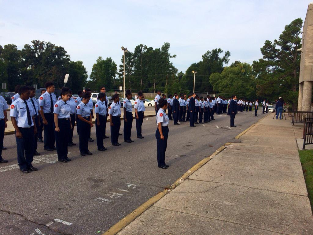 JROTC cadets at Raleigh Egypt HS preparing for 9/11 commemoration this morning on campus. http://t.co/qbUoRgeWnj