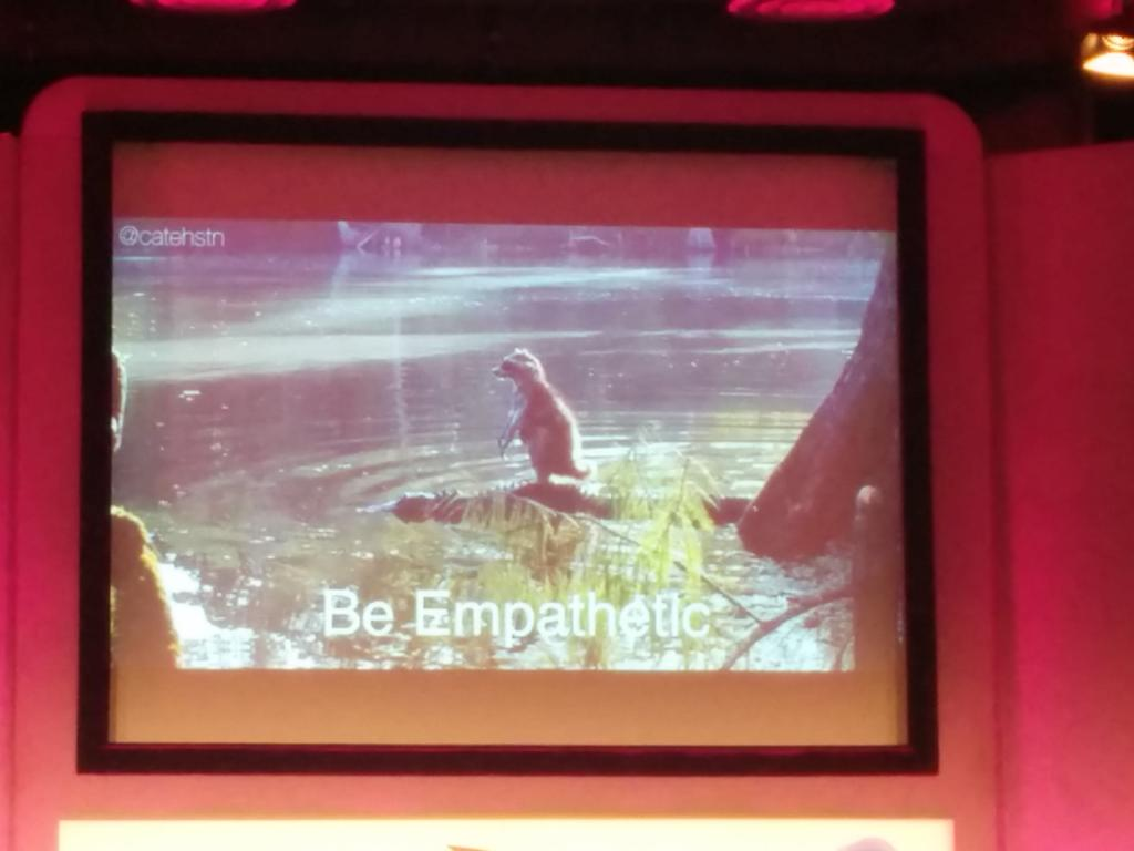 There is an aweful lot of love in the room for the croc riding raccoon right now @catehstn #leaddev http://t.co/n3IfIq3CjZ
