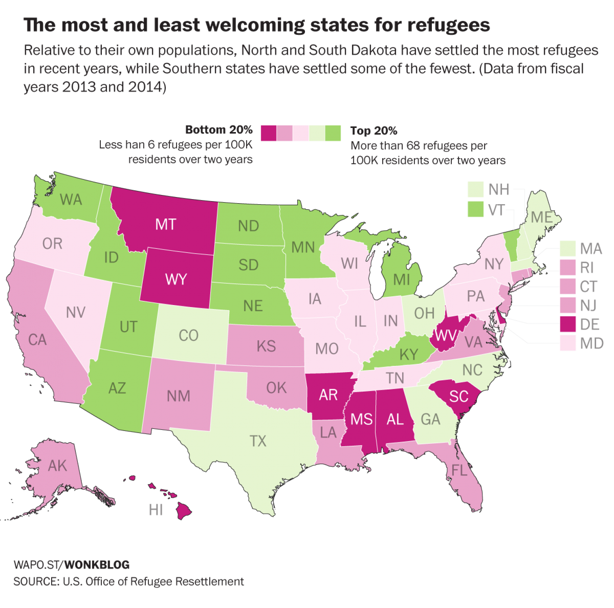 Graphic of USA indicating highest and lowest states from refugee immigration