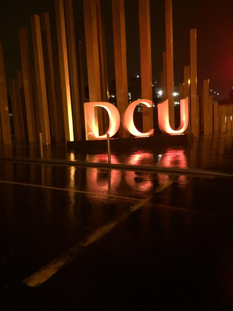 The entrance to DCU glowing orange for #WorldSuicidePreventionDay @CASuicide @light2015irl #LetsGoOrange http://t.co/d2DsT7RLXr