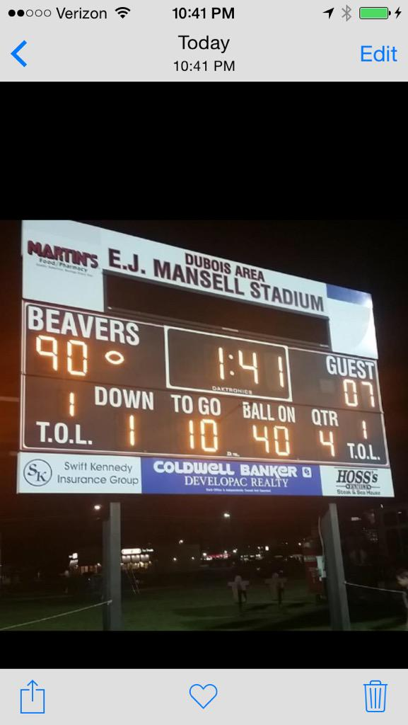 Real life Pennsylvania high school football score: Meadville 107 DuBois 90 Journey Brown ran for 720 yards and 10 TDs http://t.co/Hs3HEuAvho