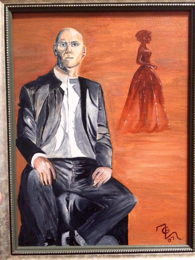 A joint #oil #painting/study my Mom & I did together. She painted the man; I painted the female silhouette. #artists http://t.co/TqprlxSirg
