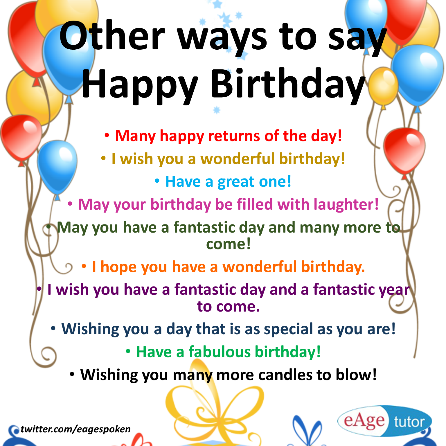 Eage Spoken English On Twitter Other Ways To Say Happy Birthday Word For Happy Birthday Wish