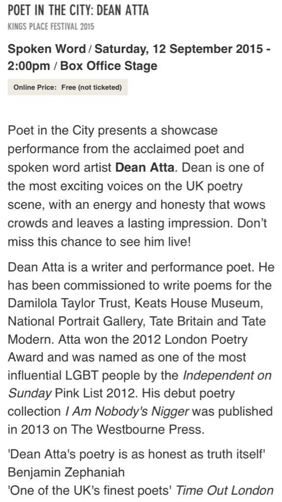 Dean Atta On Twitter London Im Giving A Free Poetry Reading