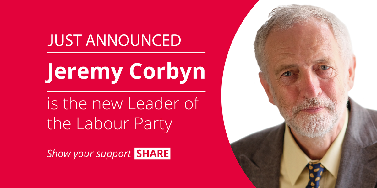 JUST ANNOUNCED: Jeremy Corbyn is the new Leader of the Labour Party #labourleadership http://t.co/7KgPRH2EF6