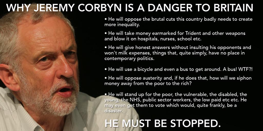 A reminder of why the Tories, the papers and the doubters are right: Jeremy Corbyn is a danger to Britain. #Lab15 http://t.co/EjDHqURNrt