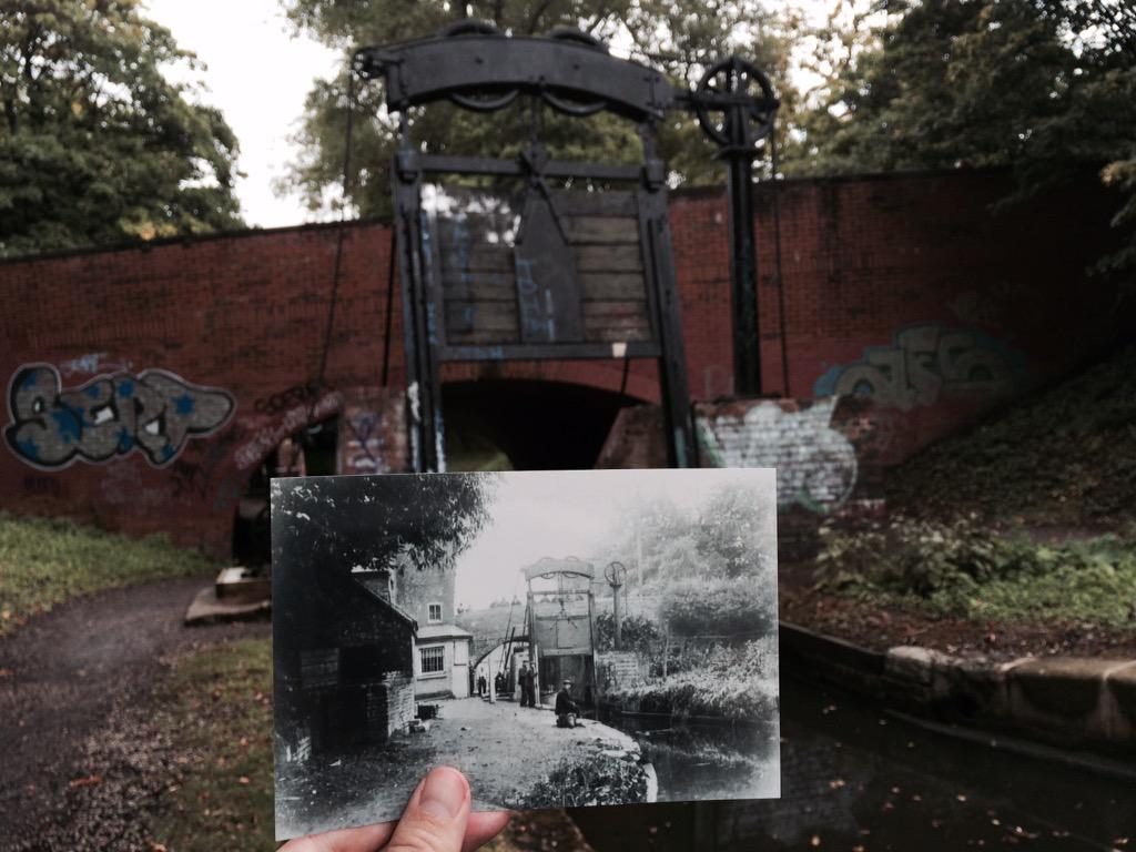 Kings norton guillotine lock 1900 & now #walkingtheshroppie (and then some) http://t.co/MblXBsCm52