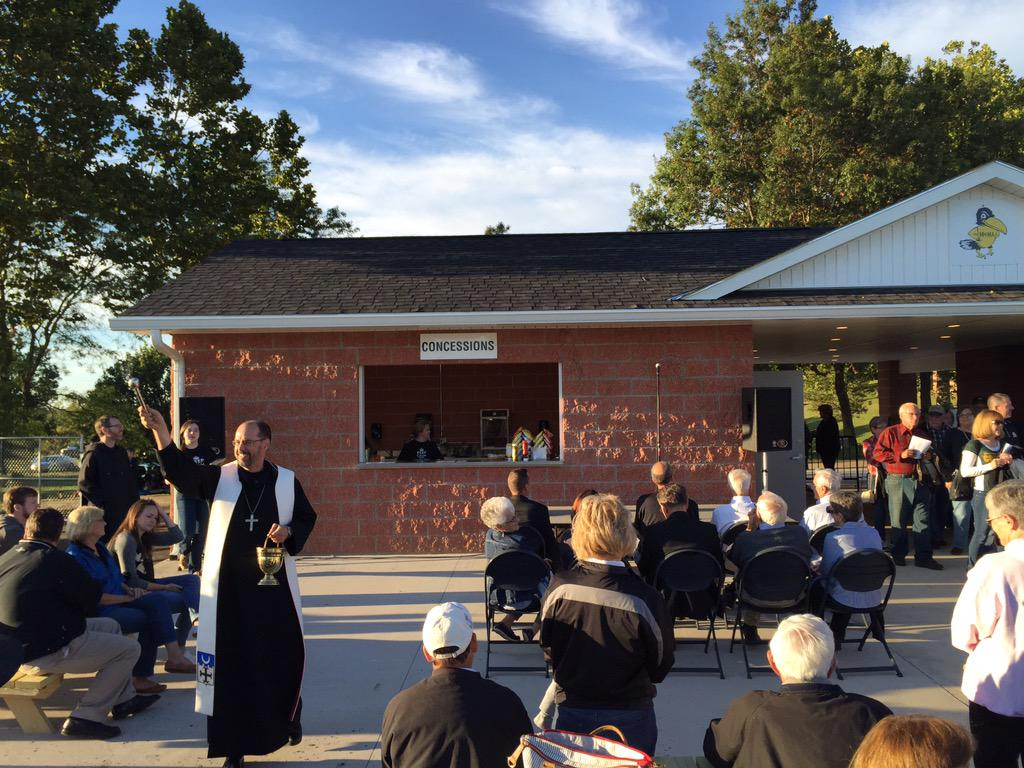 Abbot James blessing the crowd at our Gateway dedication last night before the FB game. #CatholicEdChat http://t.co/Zk8CrBWdBX