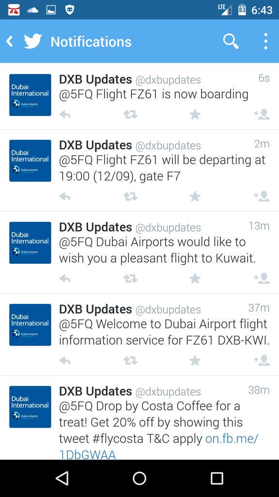 Twitter flight status notification by @DubaiAirports is excellent. You get a mention whenever status changes. http://t.co/z8aYgujGpz