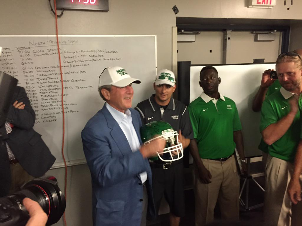 President Bush giving the pregame speech to the #MeanGreen . #BeatSMU http://t.co/fdreRnnBtj