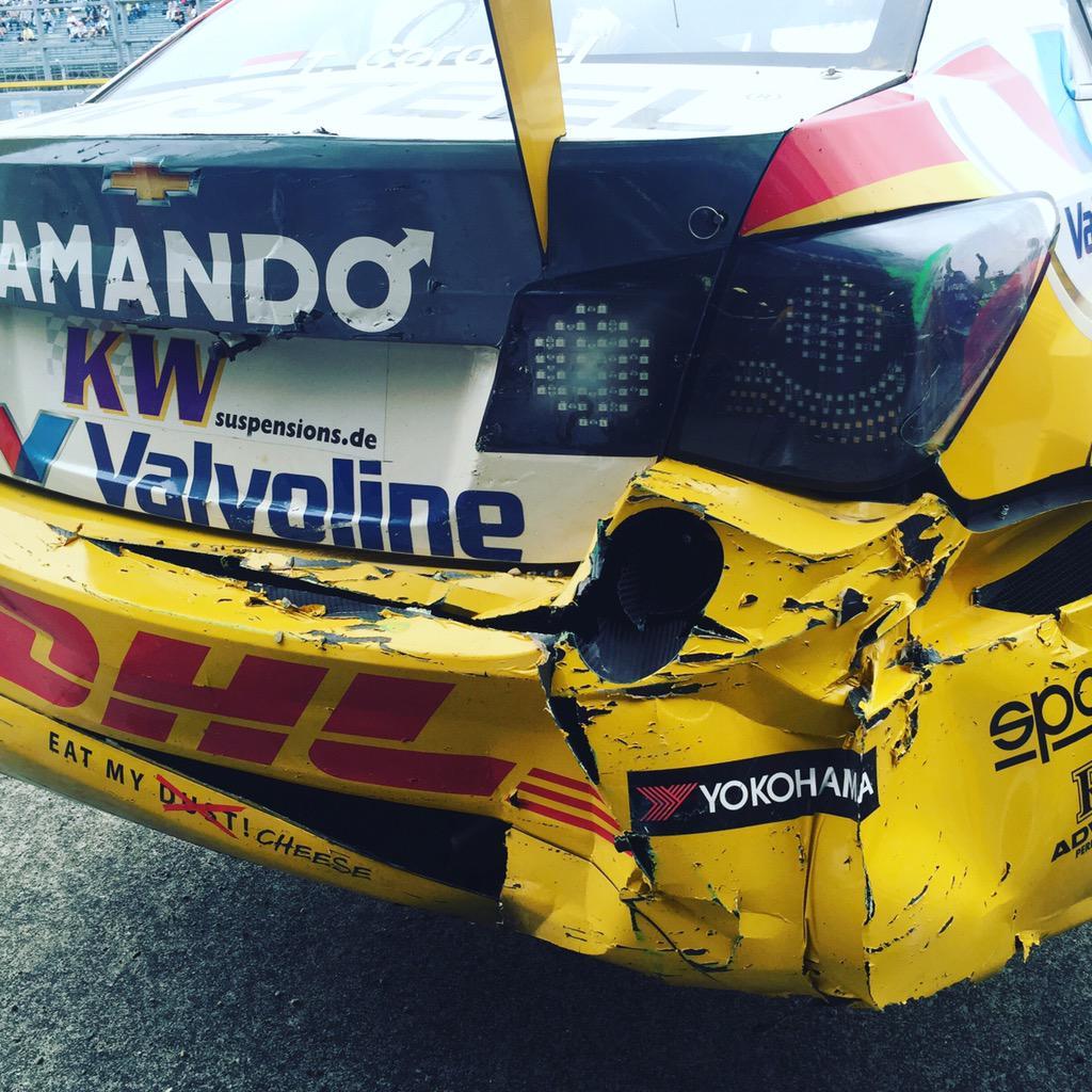 No brakes equals damage for @TomCoronel @fia_wtcc #motegi #japan http://t.co/F5RSEBzWi0