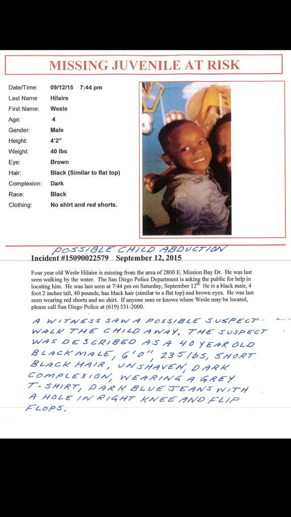 PLEASE HELP FIND #Missing 4yr #WesleHilaire Missing fr Fiesta Island @SanDiegoPD CALL 911 if u see him @fox5sandiego http://t.co/aGqKDsTupY