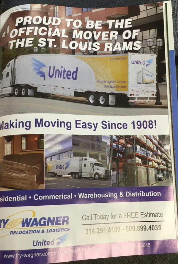 Rams Game Day Program Features Full Page Ad For Moving Company