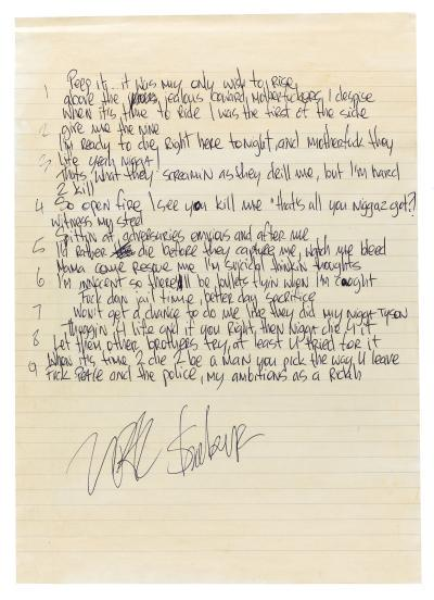 Tupacs Handwritten Lyrics To Ambitionz Az A Ridah Could Go For Five Figures At