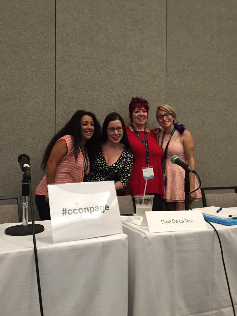 The panel for Sharing Your Sex Life on the Page & Stage! @raquelita @AnainBjorkquist @gabydunn @Bawdy! #cconpage http://t.co/wV7rxpeOkS