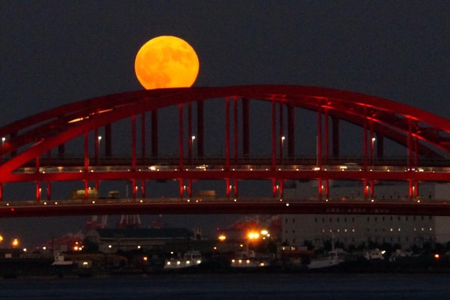 神戸大橋とスーパームーン。今夜のお月様はやっぱり大きい! #kobe #神戸 #スーパームーン pic.twitter.com/Y7Xnc88LEo