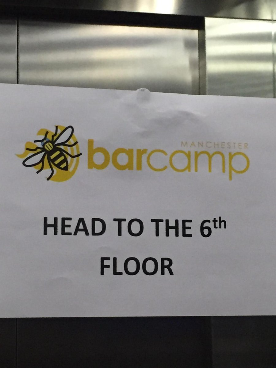 WE'RE HERE! @BarCampMCR #BCMCR6 http://t.co/1UNiNli8An