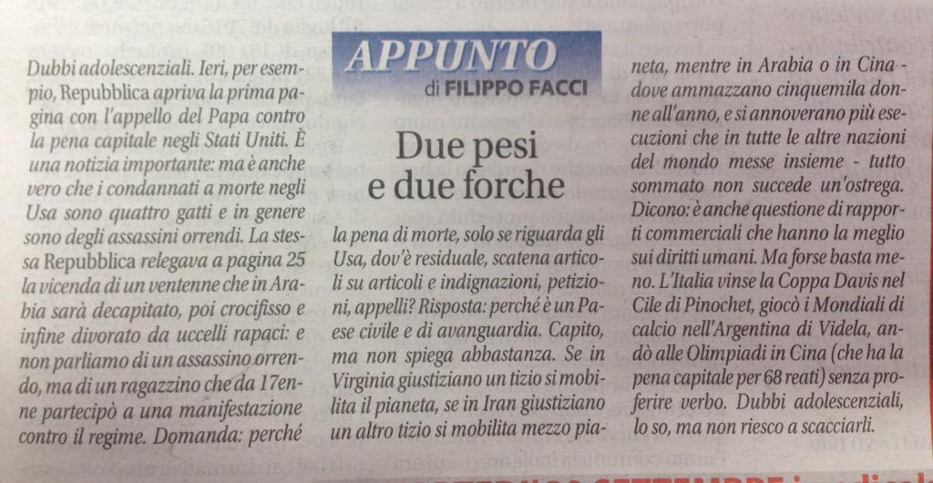 Il doppiopesismo e il silenzio dei radical-chic quando non conviene loro @FilippoFacci1 http://t.co/ELJOVLsdDs