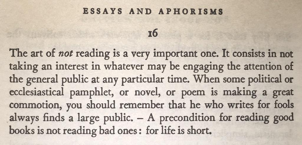 Schopenhauer, on not reading http://t.co/yvBEvieU2k