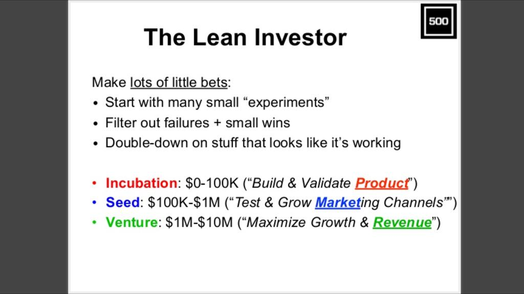 "The ""Lean Investor"": lots of little bets 1) product / incubation 2) market / seed  3) revenue / venture  #MENAinSV http://t.co/gdmdcw28sU"