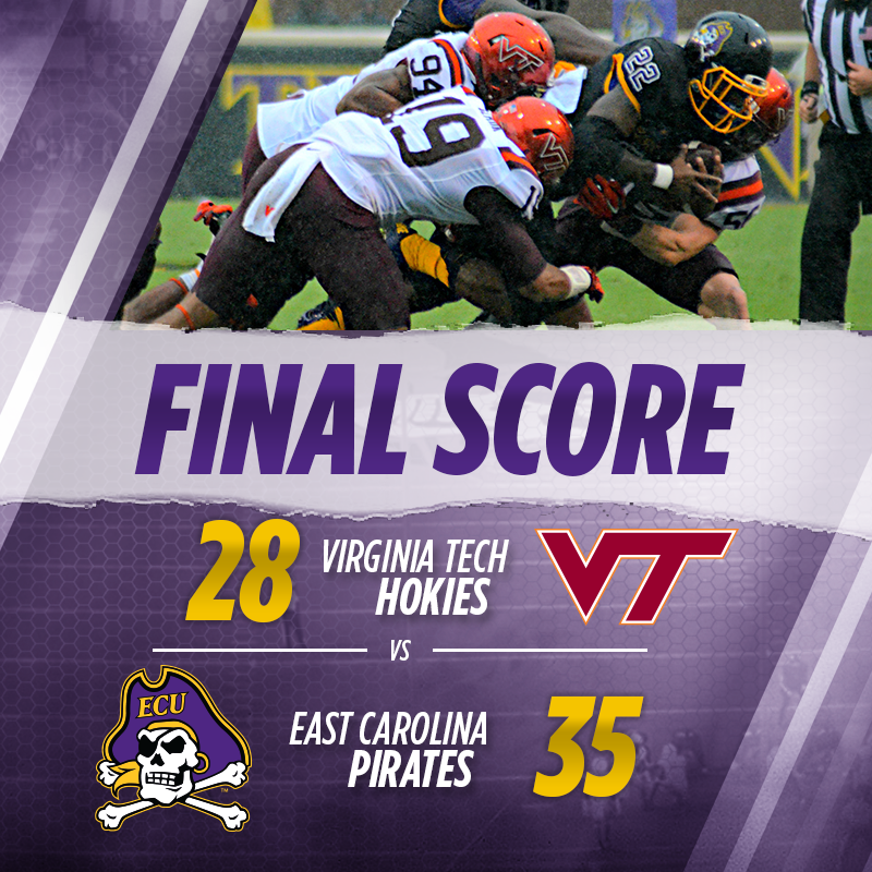 You can Paint this one Gold! Pirates defeat Virginia Tech 35-28! #ECUndaunted http://t.co/35DK0jiotJ