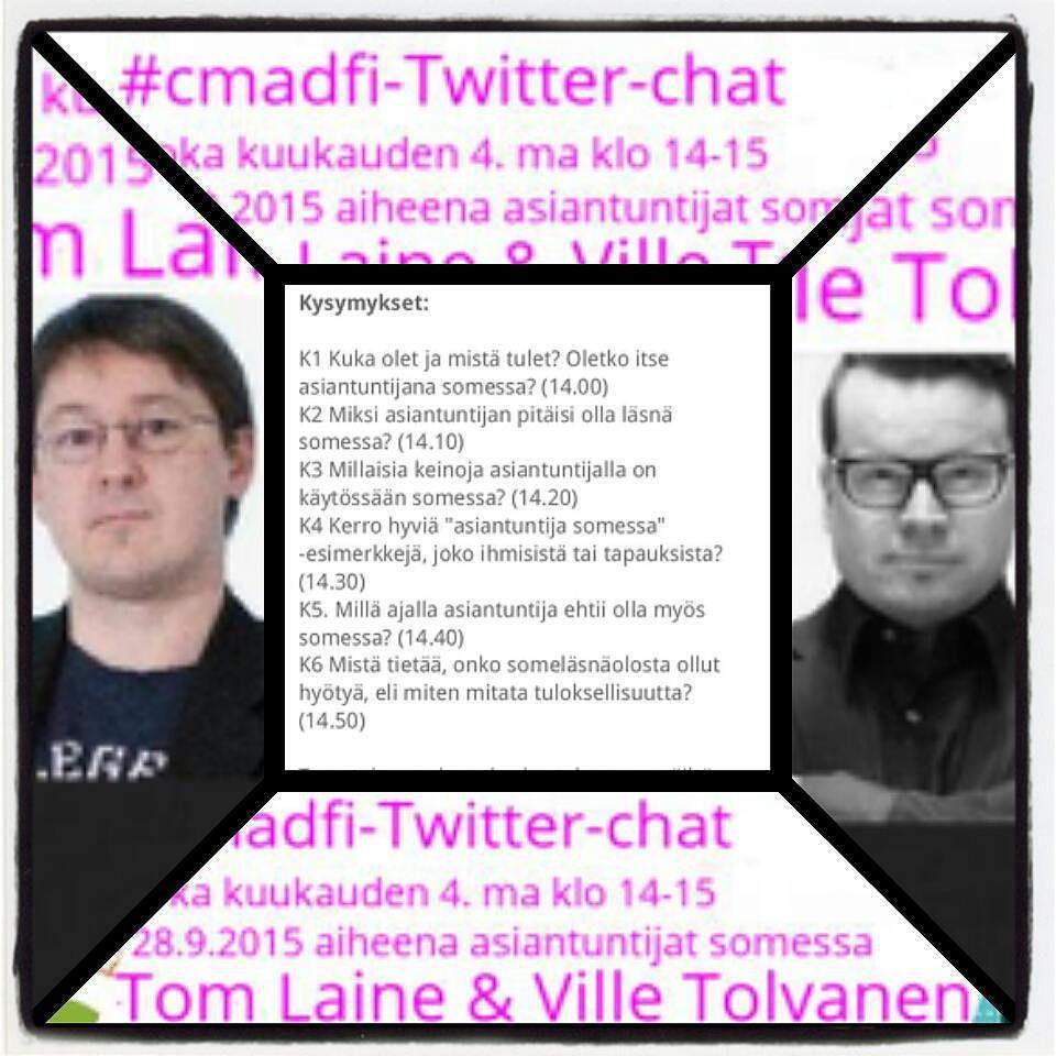 Mistä huomenna puhutaan? No #asiantuntija'n #somepresenssi'stä w/ @lainetom ja @villetolvanen http://t.co/vlNbIjmEqa #cmadfi Tule mukaan!