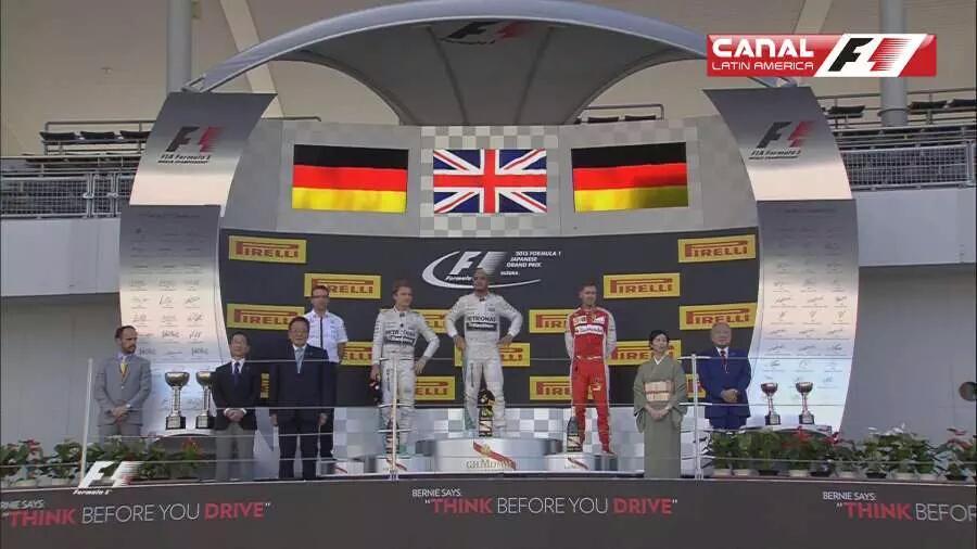 Hamilton vince in Giappone davanti a Rosberg e Vettel.