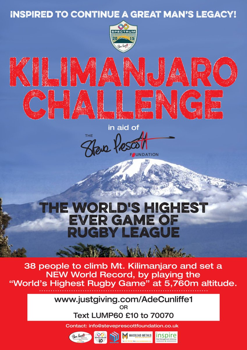 2 weeks to go .Can you help us spread awareness. Worlds highest game of Rugbyleaue. Read why http://t.co/dObTFo6d5P http://t.co/w9QUC9vIXv