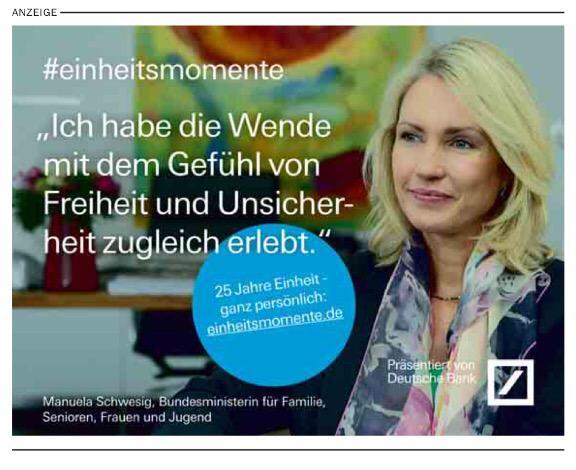 Mal ganz im Ernst, @ManuelaSchwesig, darf man als Ministerin für die Deutsche Bank werben? #einheitsmomente http://t.co/j4jhouZ3Lw