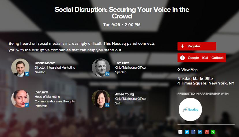 Cut through the noise of #SocialMedia with @Sprinklr @Pinterest and @Sofi, Tuesday 2pm at @AdvertisingWeek #AWXII