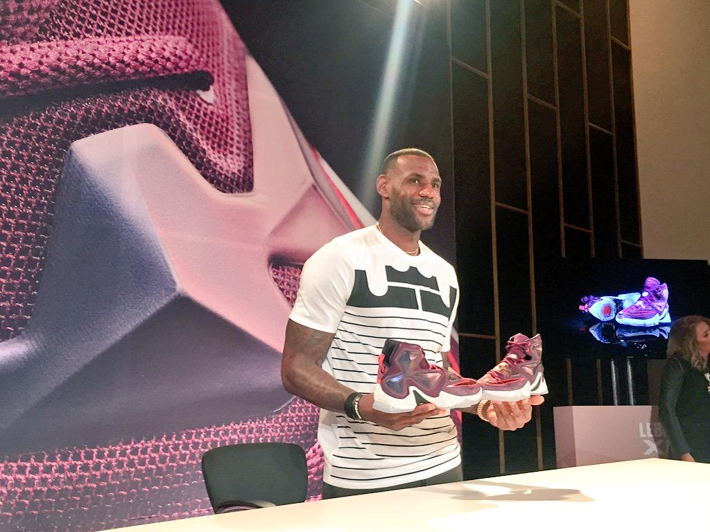 LeBron unveiling the 13's in Akron #LeBronXIII http://t.co/kYLrThB6e9