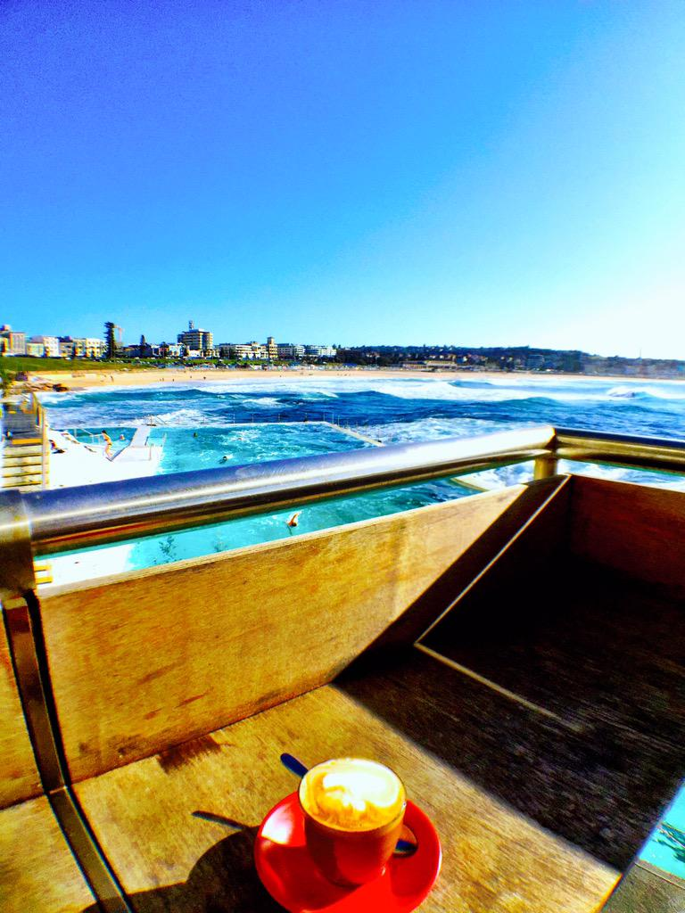 #Coffee with a view. Good morning, Bondi. @bondiicebergs #Sydney #beach #acadowntime #aussieED http://t.co/n1n68YQUM5