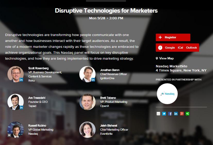 Disrupt Marketing with the Experts: @jalehbisharat @scottrinnyc @IgnitionOneJB @aretraasdahl @openx #AWXII